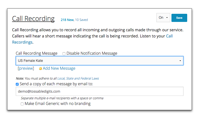 Tossable Digits Support: Call Recording Feature
