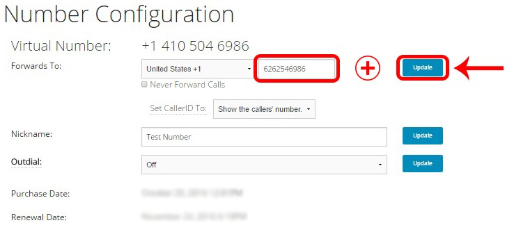 Tossable Digits Support: Step 3: How to Change your Forwarding Phone Number
