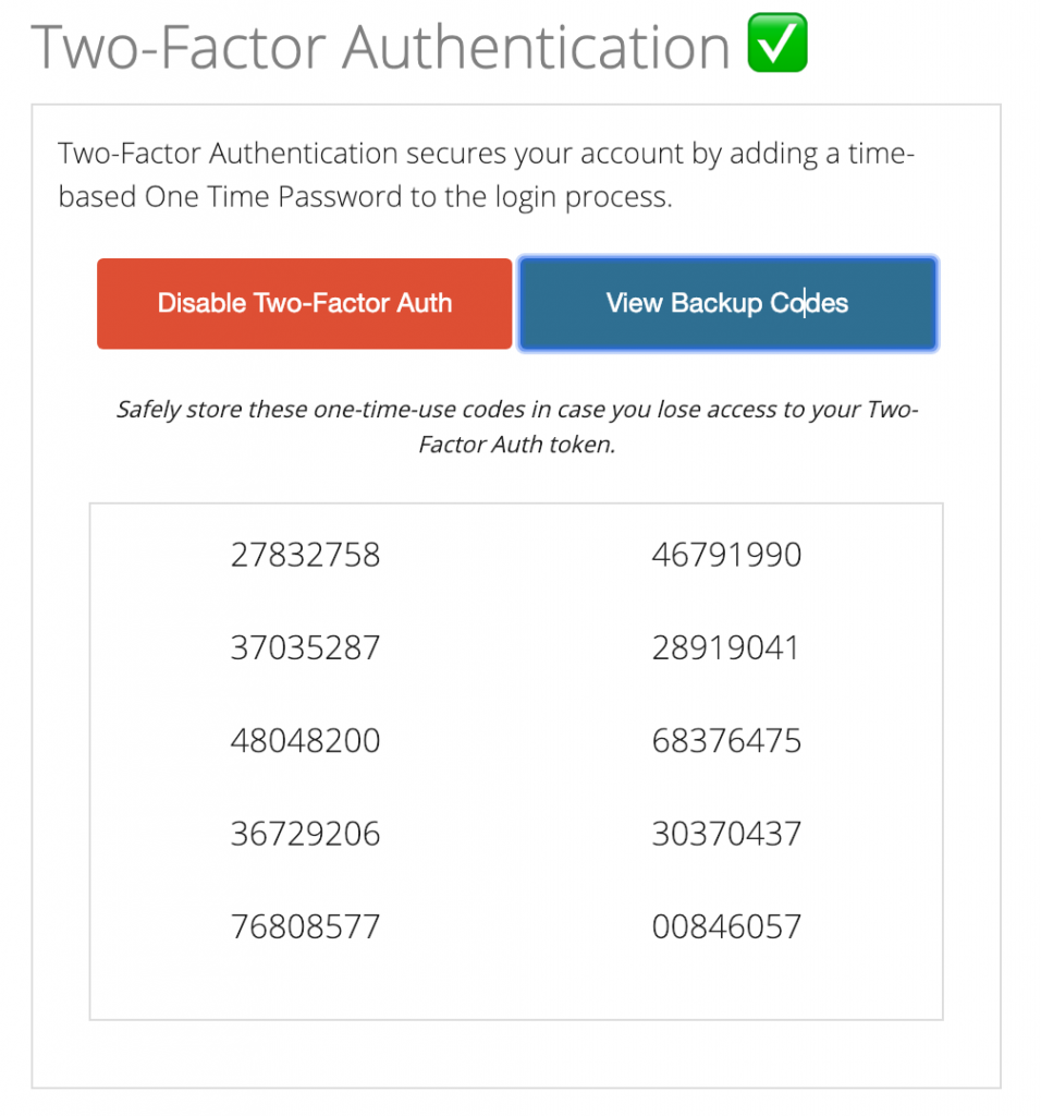 Tossable Digits Two-Factor Auth Backup Codes